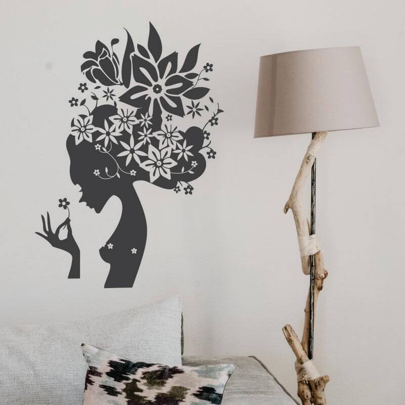 Sticker perete Coafura flori - Cod w033