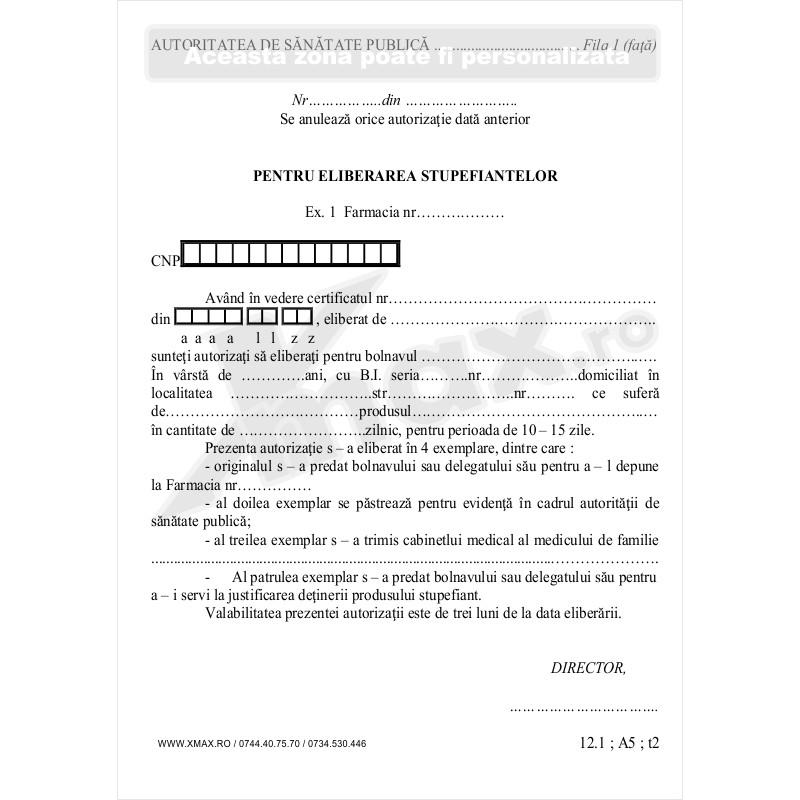 Autorizatii pentru eliberarea stupefiantelor 12.1 - fata